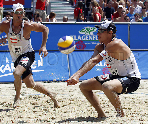 05 08 2011   Beach Volleyball World Tour 2011 FIVB Grand Slam Klagenfurt men Picture shows Alexander Horst and Daniel Muellner AUT