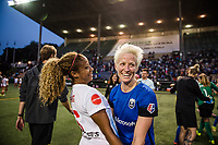 Seattle, WA - Wednesday, June 28, 2017: Casey Short and Megan Rapinoe during a regular season National Women's Soccer League (NWSL) match between the Seattle Reign FC and the Chicago Red Stars at Memorial Stadium.