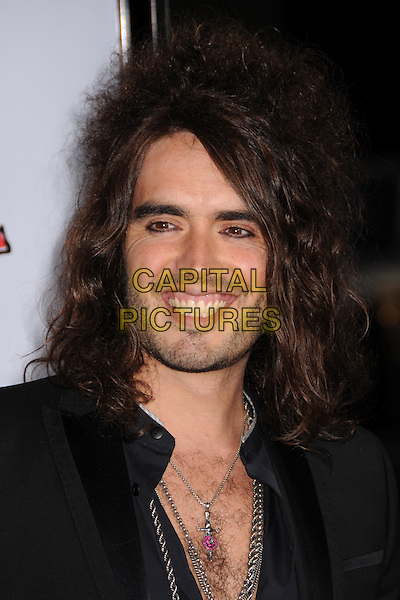 "RUSSELL BRAND.""Forgetting Sarah Marshall"" Los Angeles Premiere at Grauman's Chinese Theatre, Hollywood, California, USA..April 10th, 2008.headshot portrait necklaces teeth gums smiling funny face stubble facial hair .CAP/ADM/BP.©Byron Purvis/AdMedia/Capital Pictures."