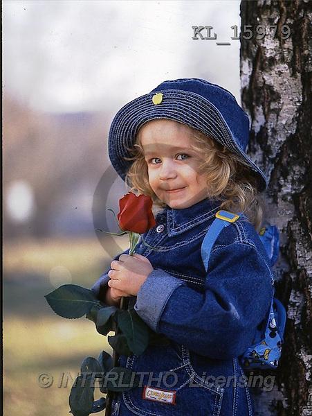 Interlitho, CHILDREN, photos, girl, tree, rose(KL15979,#K#) Kinder, niños