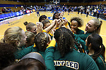 08 November 2015: Saint Leo players huddle before the game. The Duke University Blue Devils hosted the Saint Leo University Lions at Cameron Indoor Stadium in Durham, North Carolina in a 2015-16 NCAA Women's Basketball Exhibition game. Duke won the game 116-33.