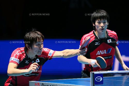 (L to R) <br /> Koki Niwa, <br /> Kenta Matsudaira (JPN), <br /> DECEMBER 13, 2014 - Table Tennis : <br /> GAC Group 2014 ITTF World Tour Grand Finals <br /> Men's Doubles Final <br /> at Indoor Stadium Huamark, Bangkok, Thailand <br /> (Photo by YUTAKA/AFLO SPORT) [1040]