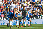 Real Sociedad's Mikel Oyarzabal and RCD Espanyol's Naldo Gomes, Esteban Granero during La Liga match. May, 18th,2019. (ALTERPHOTOS/Alconada)