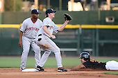 August 24 2008:  Josh Wilson of the Pawtucket Red Sox, Class-AAA affiliate of the Boston Red Sox, covers second base as Joe Thurston backs up and Anderson Machado slides in during a game at Frontier Field in Rochester, NY.  Photo by:  Mike Janes/Four Seam Images