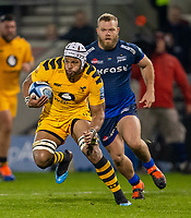 8th November 2019; AJ Bell Stadium, Salford, Lancashire, England; English Premiership Rugby, Sale Sharks versus Coventry Wasps; Nizaam Carr of Wasps is chased by Akker van der Merwe of Sale Sharks - Editorial Use