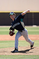 Scott Ronnenbergh 58 of the Seattle Mariners plays in an extended spring training game against the Texas Rangers at the Mariners complex on April 30, 2011  in Peoria, Arizona. .Photo by:  Bill Mitchell/Four Seam Images.