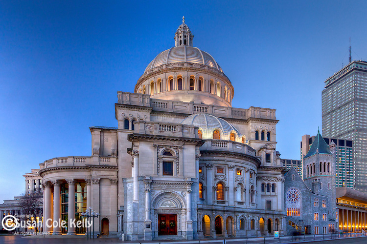 Christian Science Mother Church at dusk, Boston, MA, USA
