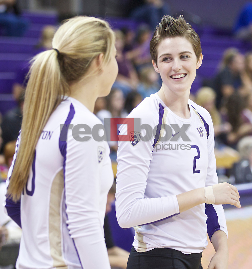 The University of Washington women's volleyball team hosts Boise State University at Alaska Airlines Arena on the UW campus in Seattle on Friday August 24, 2012. (Photo by Stephen Brashear /Red Box Pictures)