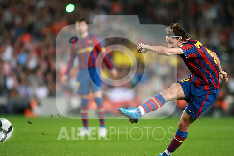 Football Season 2009-2010. Barcelona's player Zlatan Ibrahimovic  scores his first goal during their Spanish first division soccer match at Camp Nou stadium in Barcelona October 25, 2009