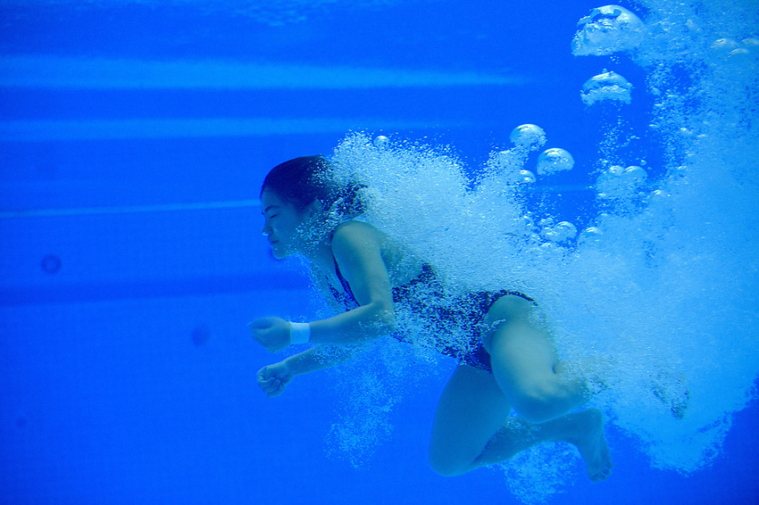 Malaysia's Nur Dhabitah Binti Sabri underwater during the practice session<br /> <br /> Photographer Hannah Fountain/CameraSport<br /> <br /> FINA/CNSG Diving World Series 2019 - Day 3 - Sunday 19th May 2019 - London Aquatics Centre - Queen Elizabeth Olympic Park - London<br /> <br /> World Copyright © 2019 CameraSport. All rights reserved. 43 Linden Ave. Countesthorpe. Leicester. England. LE8 5PG - Tel: +44 (0) 116 277 4147 - admin@camerasport.com - www.camerasport.com