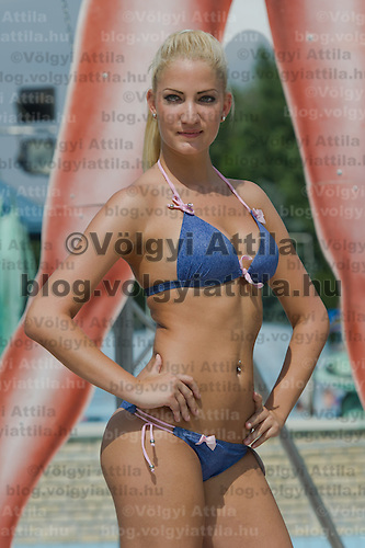 Monika Egyed attends the Miss Bikini Hungary beauty contest held in Budapest, Hungary on August 06, 2011. ATTILA VOLGYI