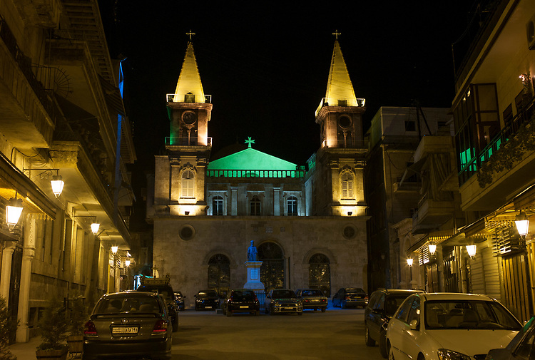 Syria. Aleppo. Jdeydeh Quarter. The Saint Elias Cathedral. The Maronite cathdral was built in 1873 on the place of a 15th century Maronite church. It was renovated in 1914.<br /> Syrie. Alep. Quartier de Jdeydeh. La cath&eacute;drale Saint-&Eacute;lie. La cath&eacute;drale maronite a &eacute;t&eacute; construite en 1873 sur l'emplacement d'une &eacute;glise maronite du XVe si&egrave;cle. Elle fut renov&eacute;e et agrandie en 1914.