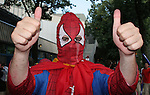 19 June 2006: A Spain fan dressed as Spiderman. Spain played Tunisia at the Gottlieb-Daimler Stadion in Stuttgart, Germany in match 31, a Group H first round game, of the 2006 FIFA World Cup.
