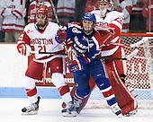 Sean Escobedo (BU - 21), Josh Holmstrom (UML - 12), Matt O'Connor (BU - 29) - The visiting University of Massachusetts Lowell River Hawks defeated the Boston University Terriers 3-0 on Friday, February 22, 2013, at Agganis Arena in Boston, Massachusetts.