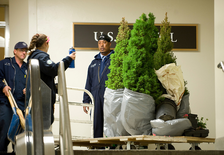 AOC works move trees, scrubs and flowers through the subway of the U.S. Capitol out to the West Front for planting on May 18, 2010.