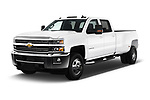 2017 Chevrolet Silverado-3500HD LT-Crew-DRW 4 Door Pickup Angular Front stock photos of front three quarter view