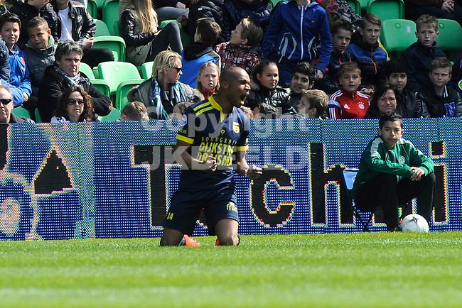 GRONINGEN - Voetbal, FC Groningen - SC Cambuur, Eredivisie, Euroborg, seizoen 2014-2015, 12-04-2015,  SC Cambuur speler Mikhail Rosheuevel  viert de 1-1