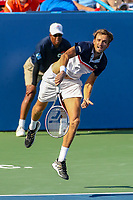 Washington, DC - August 4, 2019:  Daniil Medvedev (RUS) serves the ball during the Citi Open ATP Singles final at William H.G. FitzGerald Tennis Center in Washington, DC  August 4, 2019.  (Photo by Elliott Brown/Media Images International)