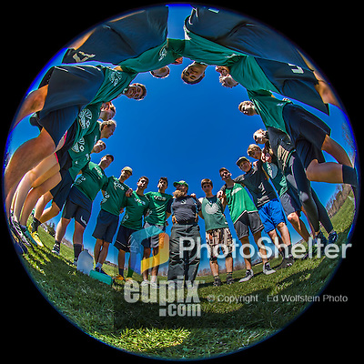 30 April 2016: The Vermont Commons School Flying Turtles Varsity Ultimate Team has a team meeting during a time-out while playing Essex High School in the Champlainships Ultimate Disk Tournament at the Williston Regional Center in Williston, Vermont. Mandatory Credit: Ed Wolfstein Photo *** RAW (NEF) Image File Available ***
