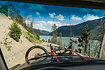 View of Carpenter Lake through the windshield, Gold Bridge, BC, Canada.