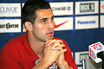 """9 September 2008: Carlos Bocanegra (USA). US Soccer held a press conference in preparation for their semifinal round World Cup Qualifying match against Trinidad and Tobago.  The press conference was held at """"Soccer House"""", the US Soccer offices in Chicago, Illinois."""