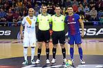 League LNFS 2017/2018 - Game 18.<br /> FC Barcelona Lassa vs Catgas Energia: 2-2.<br /> Ari &amp; Sergio Lozano posando con los colegiados del encuentro.