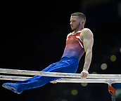 21st March 2018, Arena Birmingham, Birmingham, England; Gymnastics World Cup, day one, mens competition; Dominick Cunningham (GBR) on the Parallel Bars before the competition begins