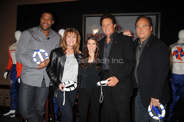 Michael Strahan, Patty Loveless, Danica Patrick, Bruce Jenner and Jim Belushi attend the DRIVE4COPD Drivers Meeting at the ESPNZone  in New York City. February 3, 2010 Credit: Dennis Van Tine/MediaPunch