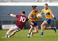 26th January 2020; TEG Cusack Park, Mullingar, Westmeath, Ireland; Allianz Football Division 2 Gaelic Football, Westmeath versus Clare; Cian O'Dea (Clare) gets away from Anthony McGiveny (Westmeath)