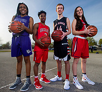NWA Democrat-Gazette/JASON IVESTER<br /> Jasmine Franklin of Fayetteville (from left), Tevin Brewer of Fort Smith Northside, Joey Hall of Pea Ridge and Hayley Kate Webb of Providence Academy; Division I boys and girls players of the year and Division II boys and girls players of the year; photographed on Wednesday, March 15, 2017, outside Jones Center in Springdale for All-NWADG Team