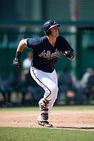 Atlanta Braves Austin Bush (59) runs to first after hitting a home run during an Instructional League game against the Detroit Tigers on October 10, 2017 at the ESPN Wide World of Sports Complex in Orlando, Florida.  (Mike Janes/Four Seam Images)