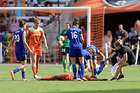 Houston, TX - Saturday May 27, 2017: Houston Dash Medical Staff rush to Rachel Daly after she collapsed due to heat exhaustion during a regular season National Women's Soccer League (NWSL) match between the Houston Dash and the Seattle Reign FC at BBVA Compass Stadium.