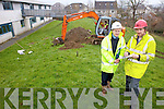 Testing the soil conditions at Mounthawk Mercy Secondary school on Monday morning in preparation for the new €1.3m extension were: Cathal Sheehy (MRG Consulting Engineers), Denis McCarthy (Priority Geotechnical Ltd., and Pat Maunsell (digger driver).