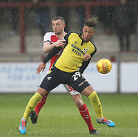 Fleetwood Town's James Wallace  in action with Scunthorpe Utd's Kyle Wootton<br /> <br /> Photographer Mick Walker/CameraSport<br /> <br /> The EFL Sky Bet League One - Fleetwood Town v Scunthorpe United - Saturday 26th January 2019 - Highbury Stadium - Fleetwood<br /> <br /> World Copyright © 2019 CameraSport. All rights reserved. 43 Linden Ave. Countesthorpe. Leicester. England. LE8 5PG - Tel: +44 (0) 116 277 4147 - admin@camerasport.com - www.camerasport.com