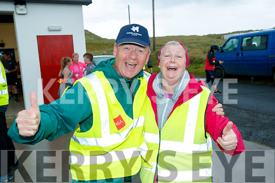Jim Adams and Majella Murray stewards at the Banna 10K run on Sunday morning.