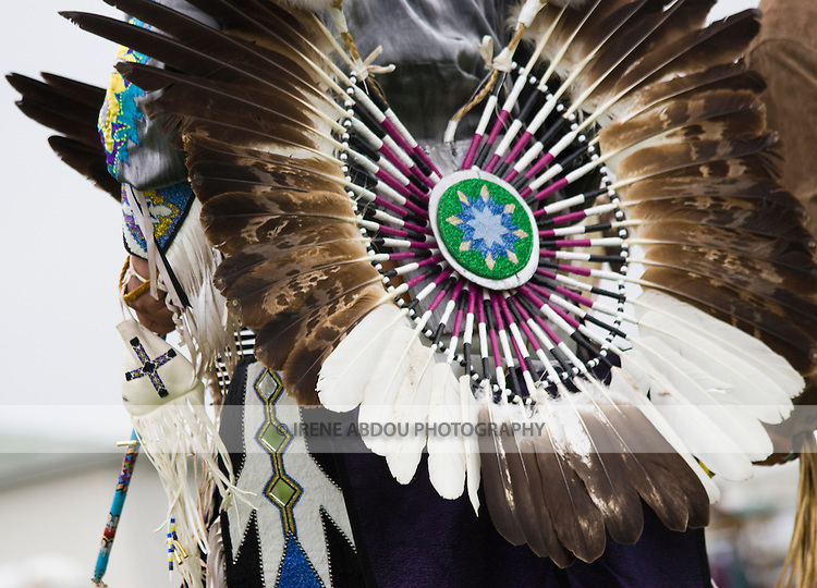Charles Hankinson (Eagle Tail), a Native American from the Micmac tribe of Canada, dances in full traditional regalia at the Healing Horse Spirit PowWow.   He wears a bustle on his back.
