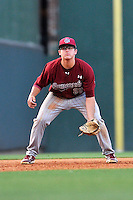 Jonah Bride (20) of the South Carolina Gamecocks in a game against the Furman Paladins on Wednesday, April 20, 2016, at Fluor Field at the West End in Greenville, South Carolina. (Tom Priddy/Four Seam Images)