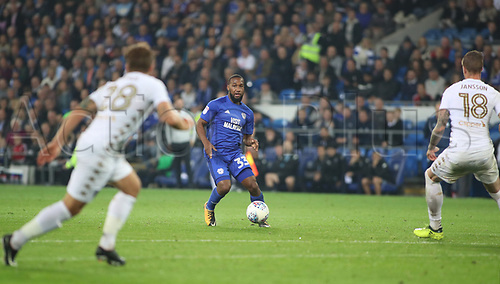 26th September 2017, Cardiff City Stadium, Cardiff, Wales; EFL Championship football, Cardiff City versus Leeds United; Junior Hoilett of Cardiff City looks for the gap between the Leeds United defense