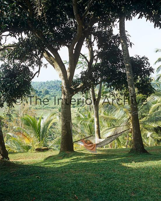 A hammock is slung between two trees in this serene spot with a view over the surrounding countryside