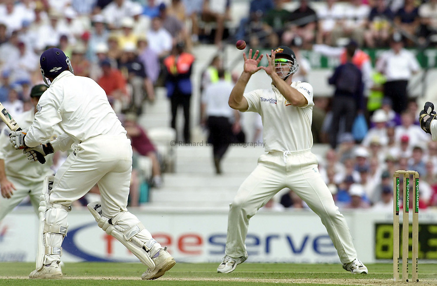 Photo.Colleen Briggs.25 August 2001 .England v Australia. 5th Ashes Test match at the Oval on the third day.Butcher is caught out by Mark Waugh with a delivery from Shane Warne making 25 runs for England.