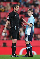 Blackpool U18's Finn Sinclair-Smith speaks to referee  Craig Hicks<br /> <br /> Photographer Andrew Kearns/CameraSport<br /> <br /> Emirates FA Youth Cup Semi- Final Second Leg - Arsenal U18 v Blackpool U18 - Monday 16th April 2018 - Emirates Stadium - London<br />  <br /> World Copyright &copy; 2018 CameraSport. All rights reserved. 43 Linden Ave. Countesthorpe. Leicester. England. LE8 5PG - Tel: +44 (0) 116 277 4147 - admin@camerasport.com - www.camerasport.com