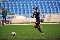 Heather O'Reilly chases the ball down.  The USA captured the 2010 Algarve Cup title by defeating Germany 3-2, at Estadio Algarve on March 3, 2010.
