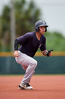 GCL Yankees East left fielder Raymundo Moreno (26) leads off second base during the second game of a doubleheader against the GCL Pirates on July 31, 2018 at Pirate City Complex in Bradenton, Florida.  GCL Pirates defeated GCL Yankees East 12-4.  (Mike Janes/Four Seam Images)