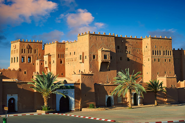 Exterior of the mud brick Kasbah of Taourirt, Ouarzazate, Morocco, built by Pasha Glaoui. A Unesco World Heritage Site