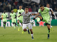 Calcio, Champions League: Gruppo D - Juventus vs Manchester City. Torino, Juventus Stadium, 25 novembre 2015. <br /> Manchester City's Nicolas Otamendi is challenged by Juventus&rsquo; Paulo Dybala during the Group D Champions League football match between Juventus and Manchester City at Turin's Juventus Stadium, 25 November 2015. <br /> UPDATE IMAGES PRESS/Isabella Bonotto