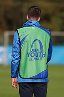 20191023 - Genk: One of the Genk trainers is pictured  warming up the reserve players in another field during the UEFA Youth League group stages match between KRC Genk Youth and Liverpool FC on October 23, 2019 at KRC Genk Stadium Arena B, Genk, Belgium. PHOTO:  SPORTPIX.BE   SEVIL OKTEM
