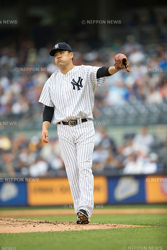 Masahiro Tanaka (Yankees),<br /> JULY 9, 2015 - MLB :<br /> Pitcher Masahiro Tanaka of the New York Yankees reacts during the Major League Baseball game against the Oakland Athletics at Yankee Stadium in the Bronx, New York, United States. (Photo by Thomas Anderson/AFLO) (JAPANESE NEWSPAPER OUT)