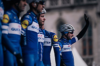 Elia Viviani (ITA/QuickStep Floors) on the start podium at the race start in the Central Square in Bruges<br /> <br /> Driedaagse Brugge-De Panne 2018<br /> Bruges - De Panne (202km)