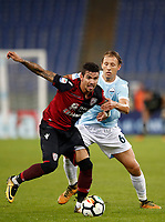 Calcio, Serie A: Roma, stadio Olimpico, 22 ottobre 2017.<br /> Cagliari's Diego Farias in action with Lazio's Lucas Pezzini Leiva (r) during the Italian Serie A football match between Lazio and Cagliari at Rome's Olympic stadium, October 22, 2017.<br /> UPDATE IMAGES PRESS/Isabella Bonotto
