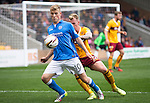 Motherwell v St Johnstone...30.08.14  SPFL<br /> David Wotherspoon holds off Craig Reid<br /> Picture by Graeme Hart.<br /> Copyright Perthshire Picture Agency<br /> Tel: 01738 623350  Mobile: 07990 594431